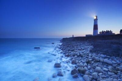 Carta da parati Il disegno di legge faro di Portland in Dorset, in Inghilterra durante la notte
