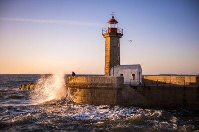 Carta da parati Il faro di Porto al tramonto