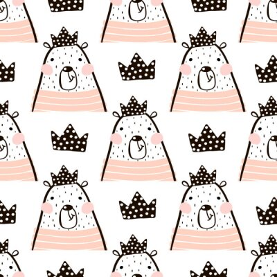 Carta da parati Il modello senza giunte con l'orso sveglio della ragazza porta principessa. Perfetto per tessuto, sfondo text.Vector