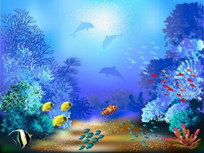 Carta da parati Il mondo sommerso di pesci e piante