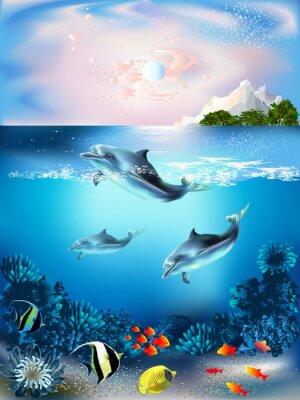 Carta da parati Il mondo subacqueo con i delfini e piante