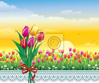 Il paesaggio naturale. prato di fiori con tulipani e camomilla carta ...