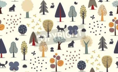 Carta da parati Il vettore ha illustrato il modello senza cuciture degli elementi piani della foresta - vari alberi, animali selvatici e semi.