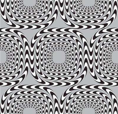 Carta da parati Illusione ottica, Vector Seamless Pattern di sfondo, Piazze Mo