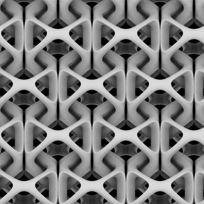 Carta da parati Illustrazione 3d, catena astratta matte bianco su sfondo nero