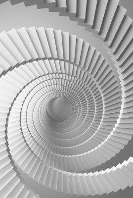Carta da parati Illustrazione 3d sfondo con spirale bianca prospettiva scale