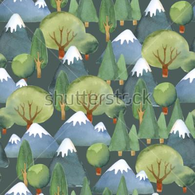 Carta da parati Illustrazione ad acquerello Modello senza cuciture del piano per alberi e montagne blu su sfondo scuro