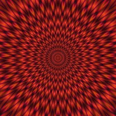Carta da parati Illustrazione astratta rossa di ipnotica tunnel luminoso
