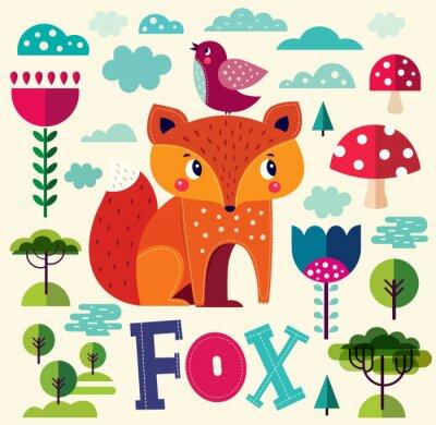 Carta da parati Illustrazione con Fox e altri elementi