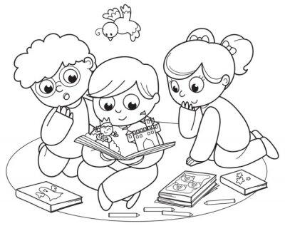 Carta da parati Illustrazione da colorare di amici che leggono un libro pop-up insieme.