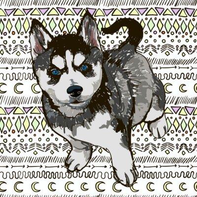 Carta da parati Illustrazione del cane di razza husky