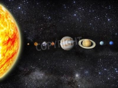 Carta da parati Illustrazione del nostro sistema solare - 3d rendering mappe da http planetpixelemporium COM