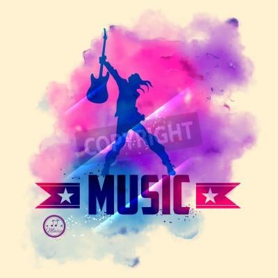 Carta da parati illustrazione del rock star con la chitarra per il sottofondo musicale