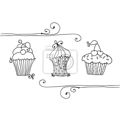 Carta Da Parati Illustrazione Del Set Isolato Di Cupcake Su Sfondo Bianco