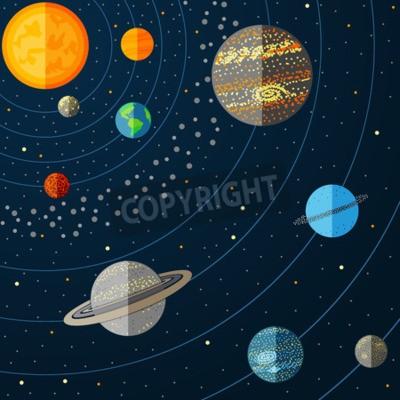 Carta da parati Illustrazione del sistema solare con i pianeti. illustrazione di vettore
