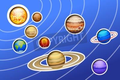 Carta da parati illustrazione del sistema solare drawed con linee su sfondo blu