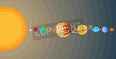 Carta da parati illustrazione del sistema solare in un piatto stile.