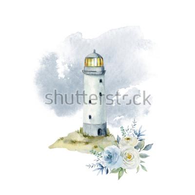 Carta da parati Illustrazione dell'acquerello con un faro, nuvole e un mazzo di fiori