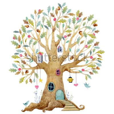 Carta da parati Illustrazione dell'albero dei bambini dell'acquerello, albero genealogico, albero genealogico. albero delle fate carino, illustrazione per bambini