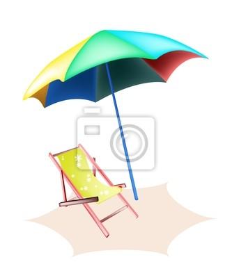 Disegno Ombrellone E Sdraio.Illustrazione Di Beach Chair E Ombrellone Colorato Carta Da Parati