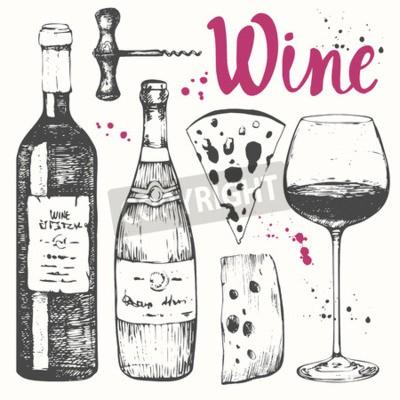 Carta da parati Illustrazione di vettore con bicchiere di vino, cavatappi, bottiglia, champagne, formaggi. bevanda alcolica classica.
