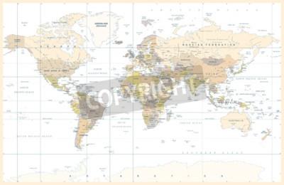 Carta da parati Illustrazione di vettore della mappa di mondo colorata topografica fisica politica