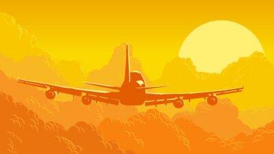 Carta da parati Illustrazione di vettore di cielo e nuvole con aeromobili in volo.