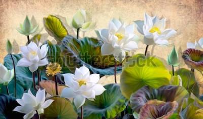 Carta da parati Illustrazione digitale di un bianco fioritura fiori di loto con foglie verdi su uno sfondo di pareti beige nel soppalco. Sfondi e murali per la stampa di interni.
