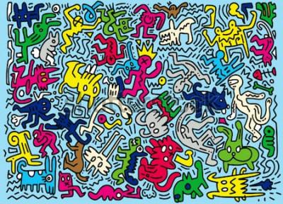 Carta da parati Illustrazione disegnata a mano di vettore dell'animale divertente di scarabocchio, disegno a tratteggio degli strumenti dell'illustratore, progettazione piana