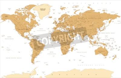 Carta da parati Illustrazione dorata d'annata di vettore della mappa di mondo politica.