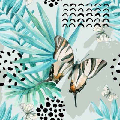 Carta da parati Illustrazione grafica ad acquerello: farfalla esotica, foglie tropicali, elementi di doodle su sfondo grunge.