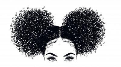 Carta da parati Illustrazione riccia della ragazza di bellezza isolata su fondo libero. Doppi panini con i capelli lunghi. Idea di disegno a mano per biglietti da visita, modelli, web, brochure, poster, cartoline, sa