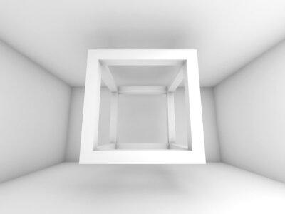 Carta da parati Illustrazione sfondo 3d, volando cubo fascio vuoto