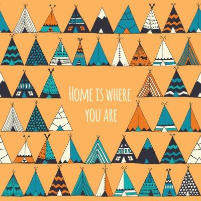 Carta da parati illustrazione Teepee nel vettore. La casa è dove sei segno.