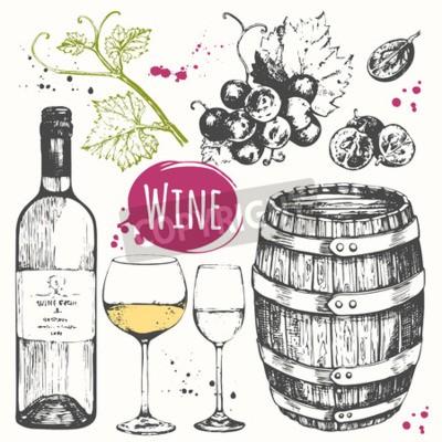 Carta da parati illustrazione vettoriale con botte di vino, bicchiere di vino, uva, ramoscello d'uva. bevanda alcolica classica.