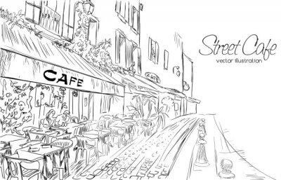 Carta da parati Illustrazione vettoriale di caffè della via