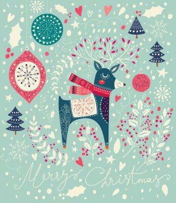 Carta da parati illustrazione vettoriale Natale con i cervi adorabili