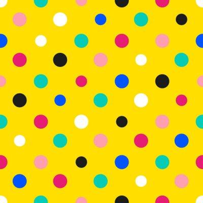 Carta da parati Illustrazione vettoriale Sfondo giallo colorato pois arcobaleno