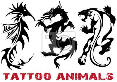 Illustrazione Vettoriale Tatuaggio Del Drago Leone Cavalluccio