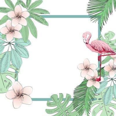 Carta da parati Illustrazione vettoriale tropicale con fenicottero e fiori.