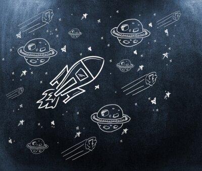 Carta da parati Immagine composita di pianeti, stelle e rucola
