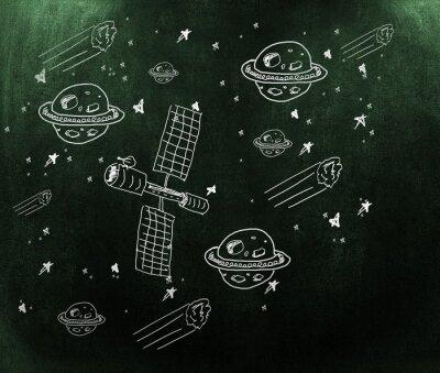 Carta da parati Immagine composita di pianeti, stelle e satellitare