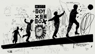 Carta da parati Immagine simbolica di ragazzi che corrono su un tronco