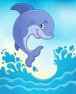 Carta da parati immagine Tema delfino saltando 6