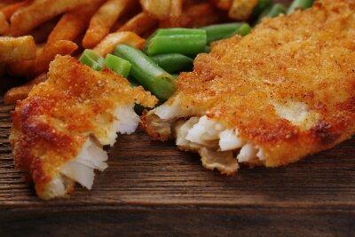 Carta da parati Impanato Filetto di pesce fritto e patate con asparagi