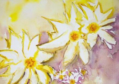 Carta da parati Impressione di fiori selvatici contro uno sfondo giallo e rosso. La tecnica tamponando vicino ai bordi dà un effetto soft focus dovuto alla rugosità superficiale alterata della carta.