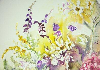 Carta da parati Impressione di un mix di fiori selvatici. La tecnica tamponando vicino ai bordi dà un effetto soft focus dovuto alla rugosità superficiale alterata della carta.