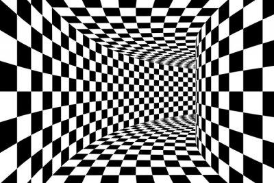 Carta da parati In bianco e nero a scacchi Piazza Walled Tunnel sfondo astratto