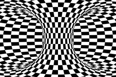 Carta da parati In bianco e nero a scacchi Torus Abstract Background