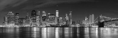Carta da parati In bianco e nero di New York durante la notte foto panoramica, Stati Uniti d'America.